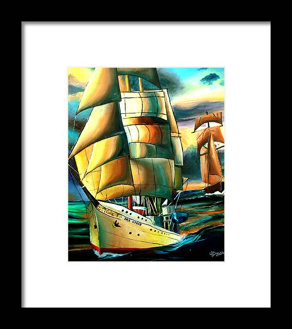 Ship Framed Print featuring the drawing Timeless by Darcie Duranceau