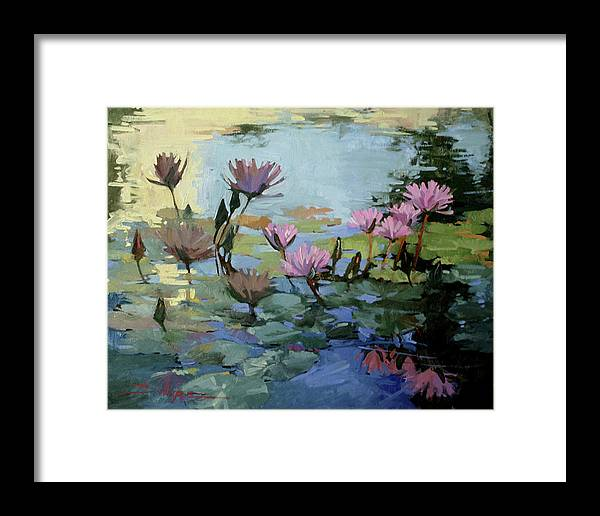 Floral Framed Print featuring the painting Times Between - Water Lilies by Betty Jean Billups