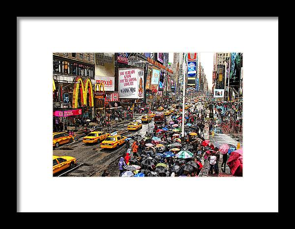 New York Framed Print featuring the photograph Times Square 1 by Andrew Fare