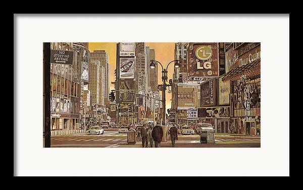 New York Framed Print featuring the painting Times Square by Guido Borelli