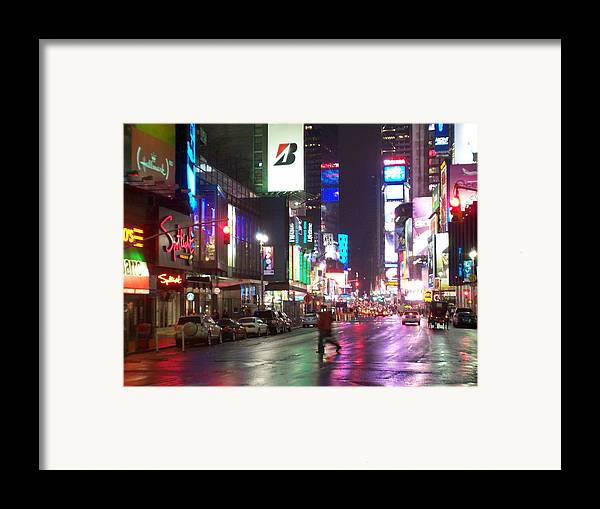 Times Square Framed Print featuring the photograph Times Square In The Rain 2 by Anita Burgermeister