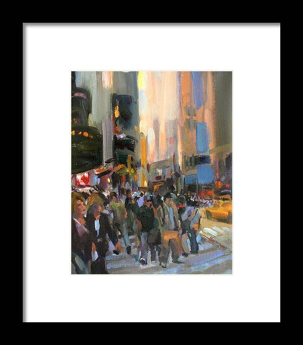 New York Framed Print featuring the painting Times Square by Merle Keller