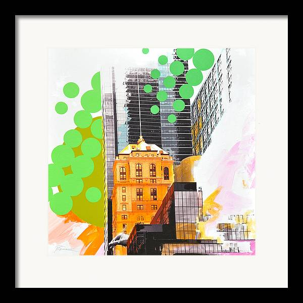 Ny Framed Print featuring the painting Times Square Ny Advertise by Jean Pierre Rousselet
