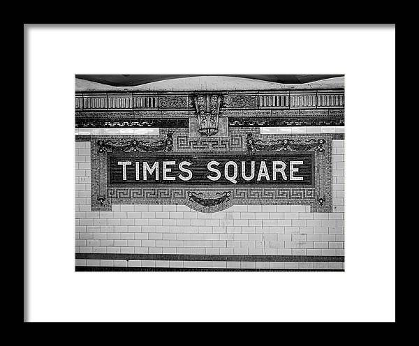 Times Square Framed Print featuring the photograph Times Square Station Tablet by Daniel Hagerman