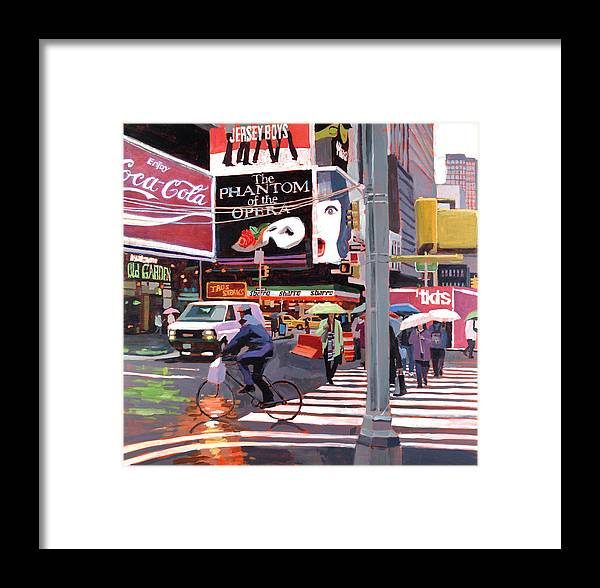 Urban Framed Print featuring the painting Times Square Umbrellas by Patti Mollica