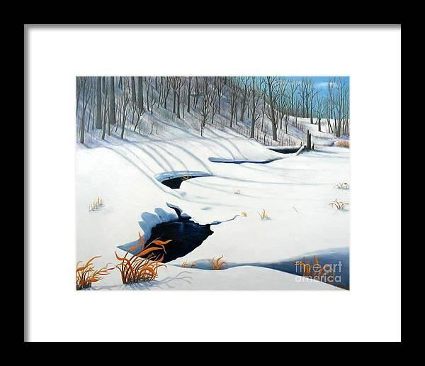 Winter Landscape In The Ottawa Green Belt Framed Print featuring the painting Timm Drive Ravine by Al Hunter