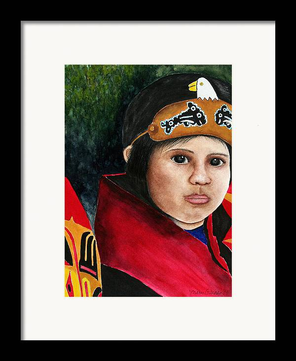 Native Framed Print featuring the painting Tinglit Native Girl by Mary Gaines