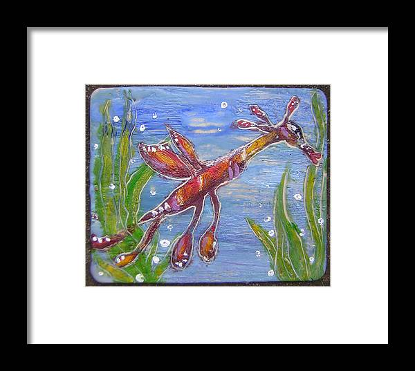 Sea Dragon Framed Print featuring the painting Tiny Anthropomorphic Sea Dragon 2 by Michelley QueenofQueens