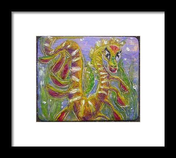 Sea Dragon Framed Print featuring the painting Tiny Anthropomorphic Sea Dragon 3 by Michelley QueenofQueens