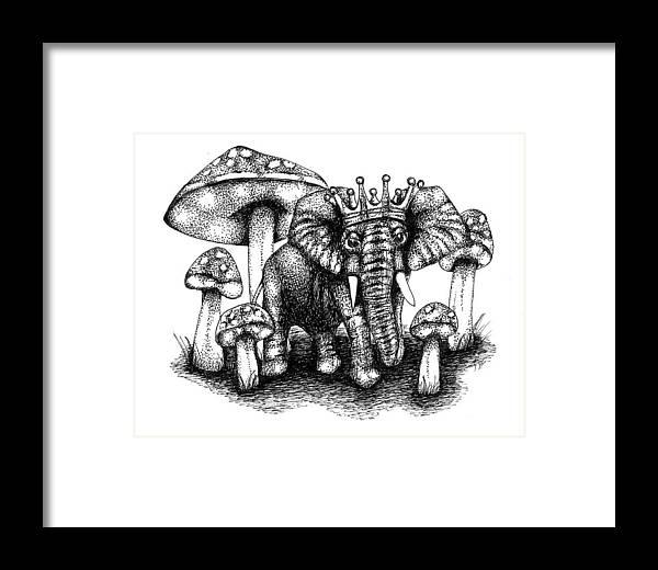 Tiny Elephant King Framed Print by Rheannon Cheri