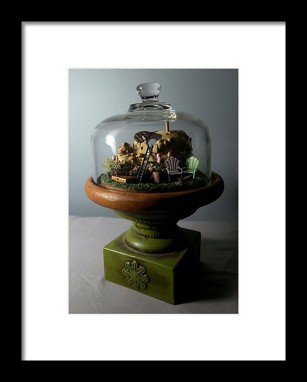 Assemblage Framed Print featuring the sculpture Tiny Home by Amber McElreath
