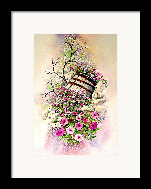 Floral Framed Print featuring the painting Tipsy Whiskey Barrel by Brooke Lyman