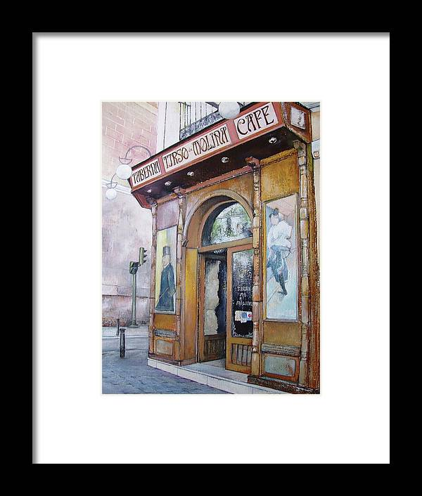 Tirso Framed Print featuring the painting Tirso De Molina Old Tavern by Tomas Castano