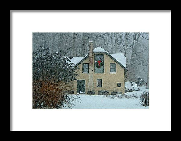 Brandywine Pennsylvania Carriage House Rural Country Snow Snowy Woodsy Kennett Square Framed Print featuring the photograph Tis The Season by Gordon Beck