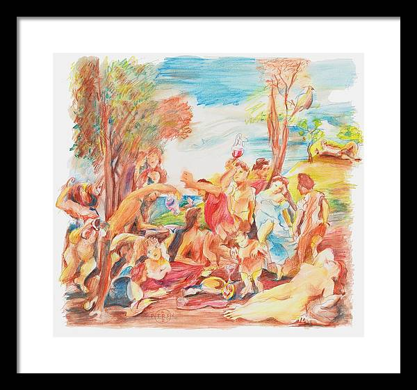 Titian Framed Print featuring the drawing Titian Bacchanalia Color by Gary Peterson