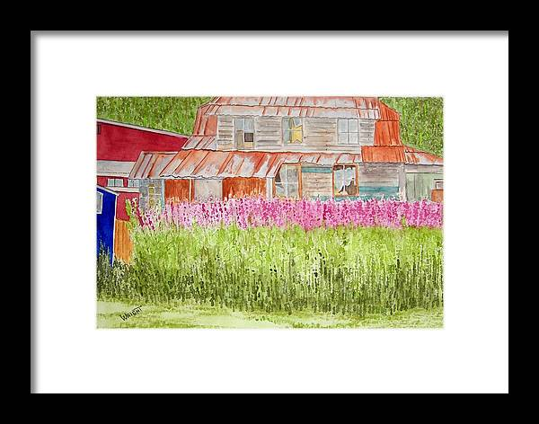 Architecture Framed Print featuring the painting Tlingit Home In Hoonah by Larry Wright