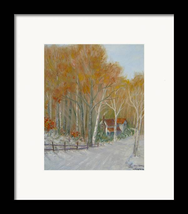 Country Road; House; Snow Framed Print featuring the painting To Grandma's House by Ben Kiger