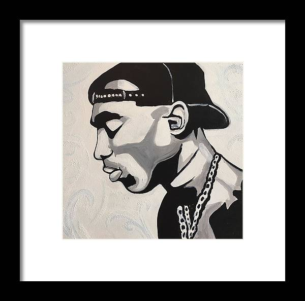 Tupac Framed Print featuring the painting To Live And Die by Evan C Roberts
