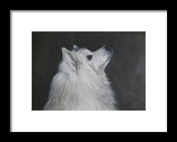 Samoyeds Framed Print featuring the painting To Live With A White Dog by Elizabeth Ellis