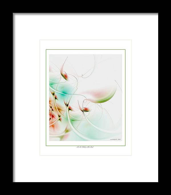 Fractal Framed Print featuring the digital art To Look Within The Seed by Gayle Odsather