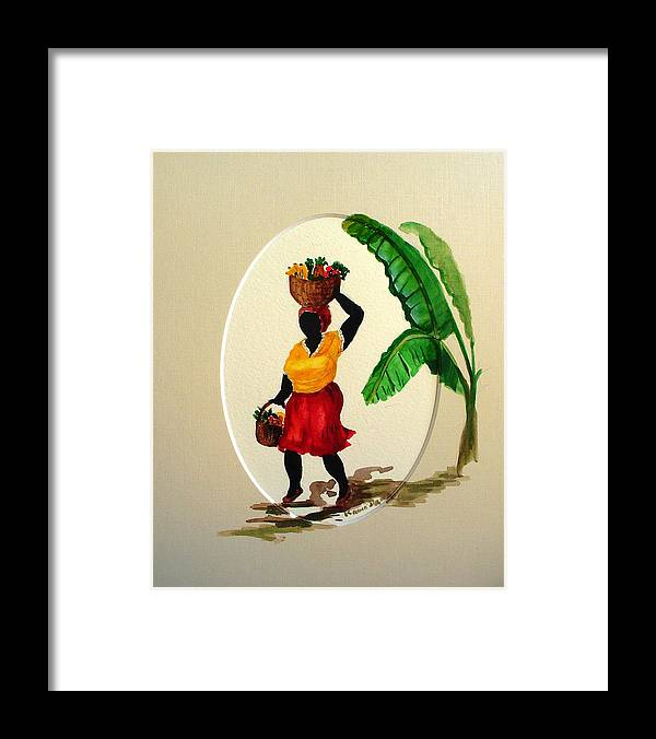 Caribbean Market Womanfruit & Veg Framed Print featuring the painting To market by Karin Dawn Kelshall- Best