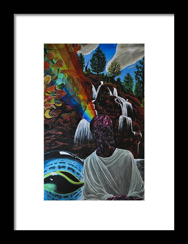 Rainbow Framed Print featuring the drawing To Reveal And To Receive by Matthew Fredricey