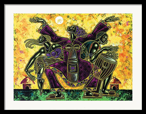 Figurative Framed Print featuring the painting To The Beat Of The Drum by Larry Poncho Brown