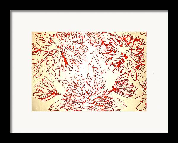 Flower Framed Print featuring the drawing To The Center by Kseniya Nelasova
