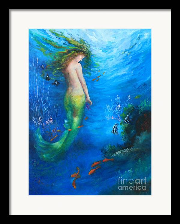 Mermaid Framed Print featuring the painting To The Surface by Gail Salitui