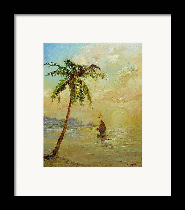 Landscape Framed Print featuring the painting To The West by Tigran Ghulyan