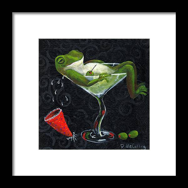 Frog Framed Print featuring the painting Toadally Under The Influence by Debbie McCulley