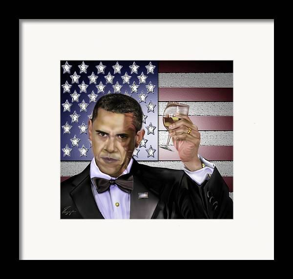 Barack Obama Framed Print featuring the painting Toast - Respect by Reggie Duffie