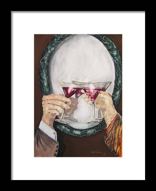 Toast Drink Glass Of Champagne Red Wine Mirror Hands Happy Birthday Anniversary Framed Print featuring the painting Toast by Miroslaw Chelchowski