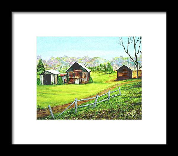Landscape Framed Print featuring the painting Tobacco Barns North Carolina by Pauline Ross