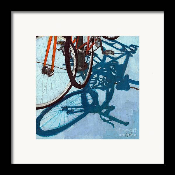 Blue Framed Print featuring the painting Together - City Bikes by Linda Apple