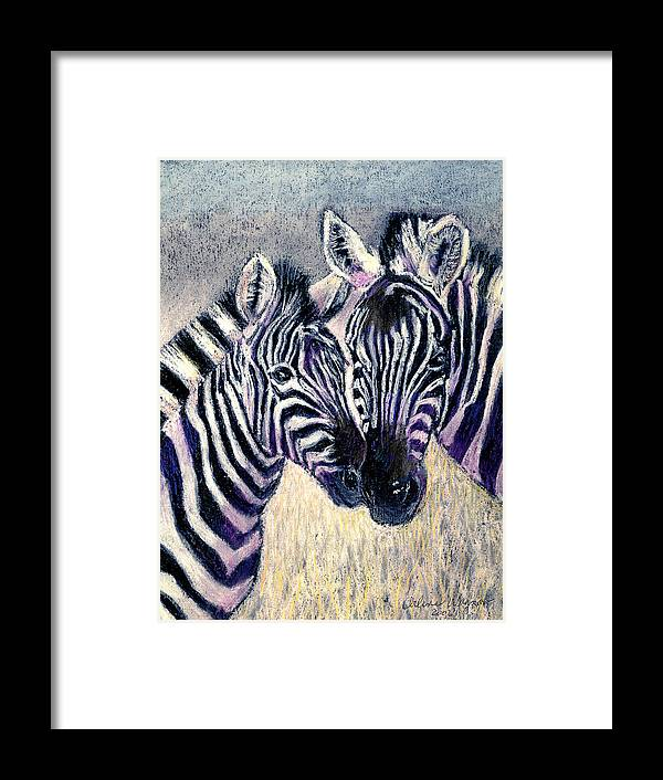 Zebras Framed Print featuring the pastel Together by Arline Wagner