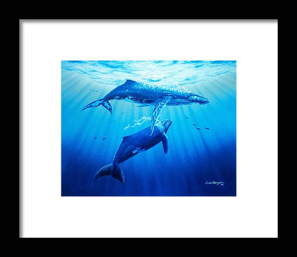 Whale Framed Print featuring the painting Together by Daniel Bergren