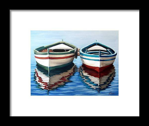 Seascape Sea Boat Reflection Water Ocean Framed Print featuring the painting Together by Natalia Tejera
