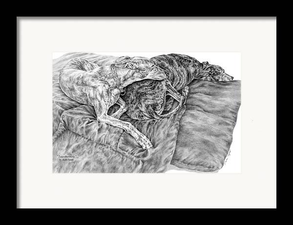 Greyhound Framed Print featuring the drawing Togetherness - Greyhound Dog Art Print by Kelli Swan
