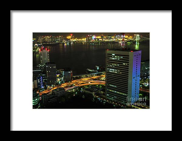 Tokyo Skyline Framed Print featuring the photograph Tokyo Bay Area Skyline by Benny Marty