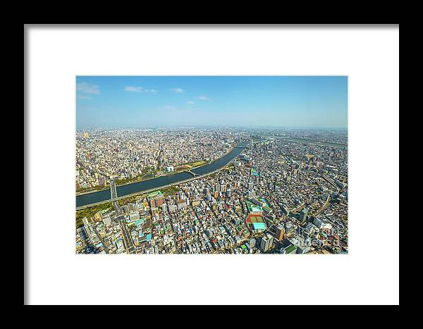 Tokyo Framed Print featuring the photograph Tokyo Skyline Sumida by Benny Marty