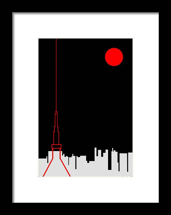 Framed Print featuring the digital art Tokyo Tower by Asbjorn Lonvig