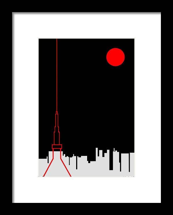 Framed Print featuring the digital art Tokyo Tower by Asbjorn Lonvig