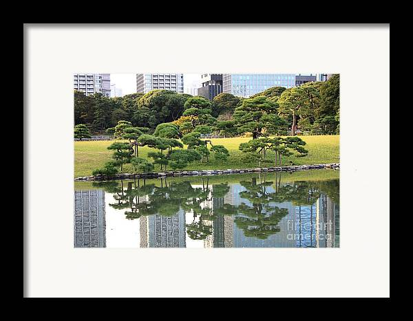 Japan Framed Print featuring the photograph Tokyo Trees Reflection by Carol Groenen
