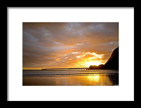 Tolaga Framed Print featuring the photograph Tolaga Bay Pier IIi by Andrea Cadwallader
