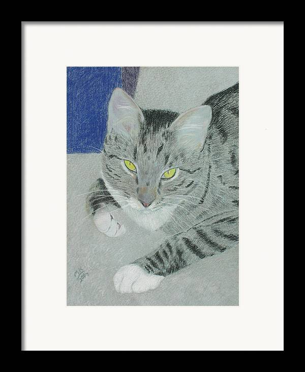 Tabby Cat Framed Print featuring the painting Tom Bombadil by Miriam A Kilmer