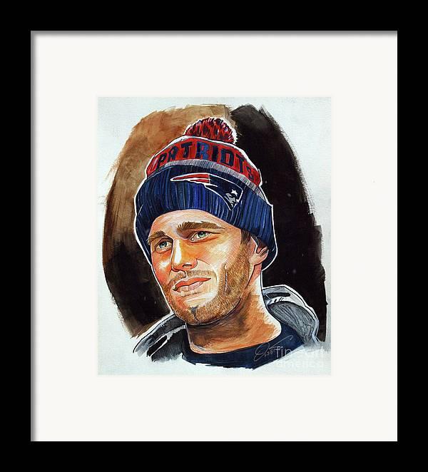 Tom Brady Framed Print featuring the drawing Tom Brady by Dave Olsen
