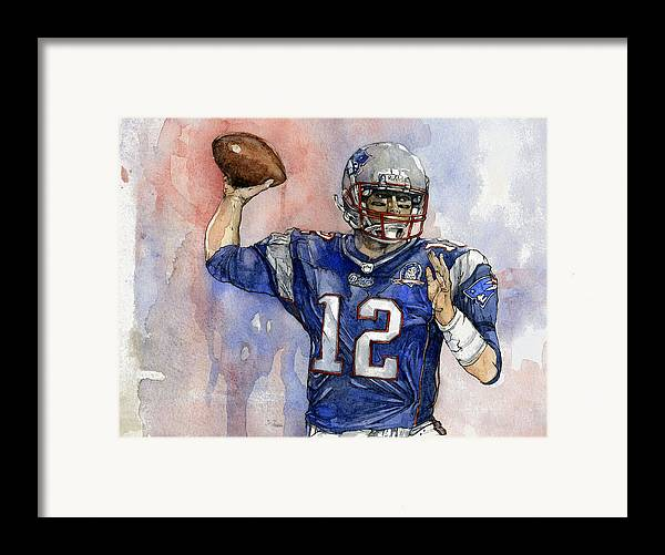 Patriots Framed Print featuring the painting Tom Brady by Michael Pattison