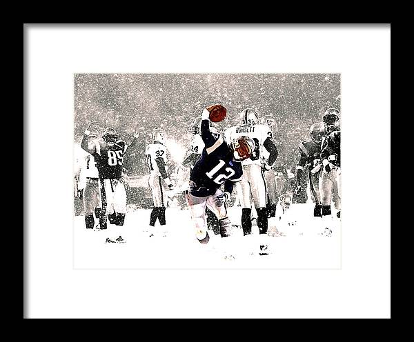 Tom Brady Framed Print featuring the mixed media Tom Brady Touchdown Spike by Brian Reaves