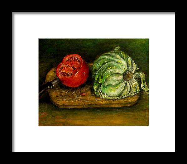 Tomatoes Framed Print featuring the painting Tomato And Cabbage Oil Painting Canvas by Natalja Picugina